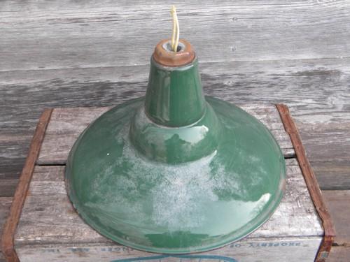 Old Green White Enamel Pendant Light Work Barn Lighting