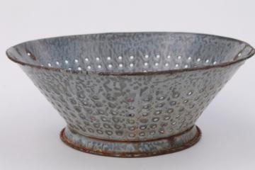 old grey graniteware enamel ware colander basket / strainer, antique kitchen primitive