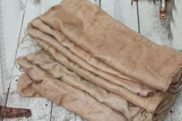 old gunny sacks for scarecrows / sack races, vintage burlap feed bags lot