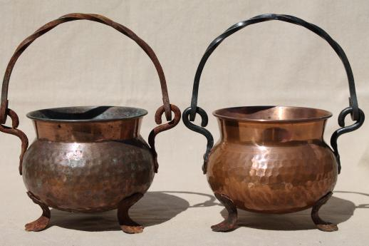 Old Hammered Copper Kettles Lot Collection Of Small