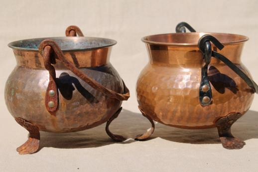 old hammered copper kettles lot, collection of small cauldron pots w/ wrought iron handles