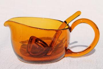 old hand blown amber glass mayonnaise spoon or sauce ladle & pitcher or gravy boat