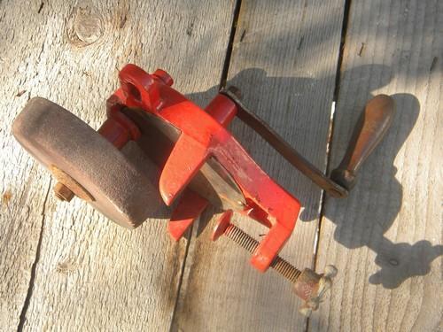 Old Hand Crank Shop Bench Grinder For Sharpening Knives