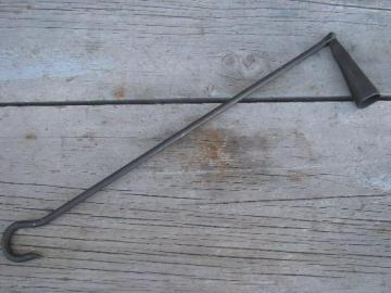 old hand forged wrought iron candle snuffer, long handle for chandelier
