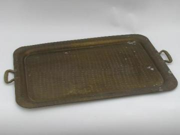 old hand hammered solid brass tray, copper rivet handles