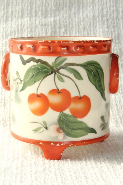 Old Hand Painted Cherries Cachepot Jardiniere Planter Pot Deco Vintage Erphila Art Pottery