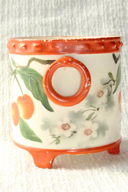 old hand painted cherries cachepot jardiniere planter pot, deco vintage Erphila art pottery