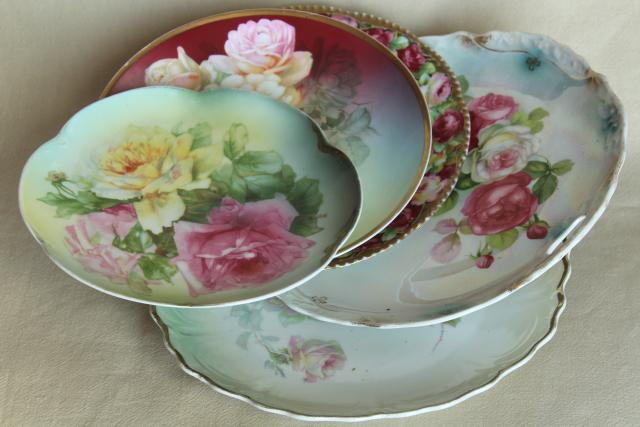 Old Hand Painted China Plates French Garden Roses & French China Dinnerware - Castrophotos