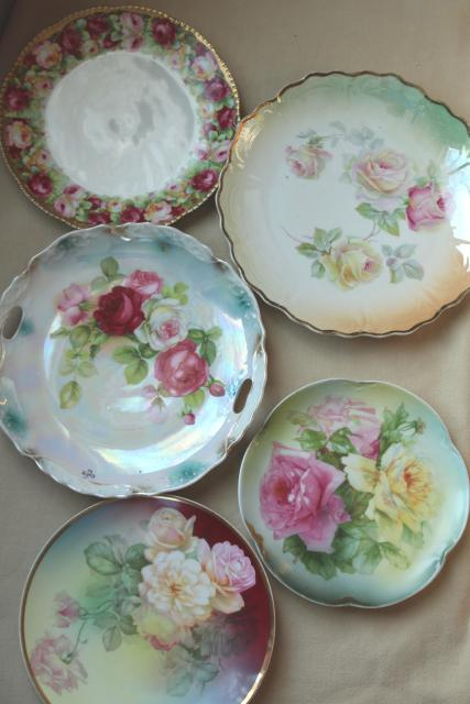 old hand painted china plates french garden roses mismatched antique dishes & old hand painted china plates french garden roses mismatched antique ...