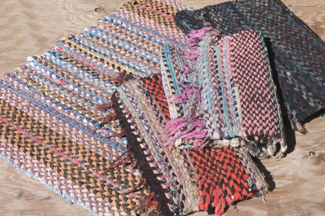 Old Hand Woven Twined Rag Rugs Farmhouse Primitive Vintage Rug Lot