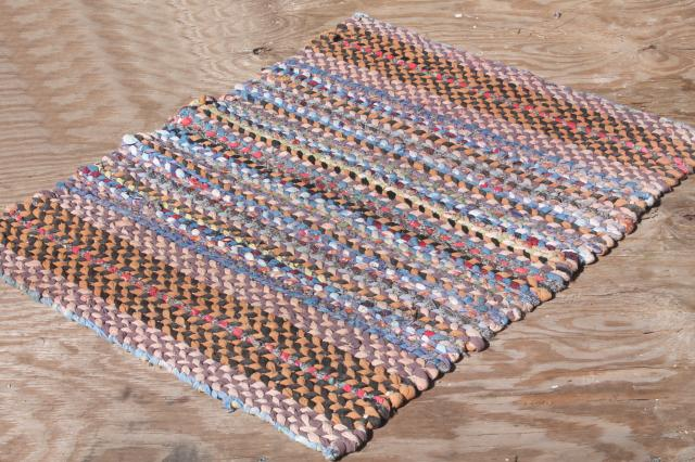 old hand woven twined rag rugs, farmhouse primitive vintage rug lot from Wisconsin farm estate