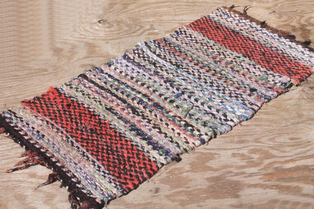 Old Hand Woven Twined Rag Rugs Farmhouse Primitive