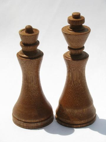 Old hand crafted turned wood chess set game pieces carved for Hand crafted chess set