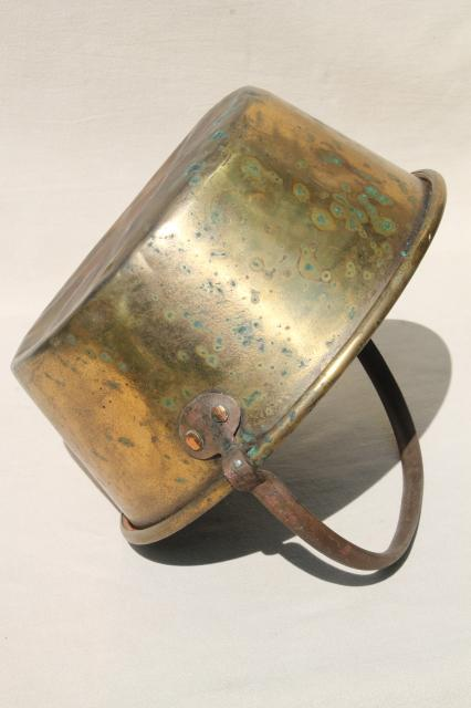 old hand-forged solid brass bucket, open hearth fire cooking pot kettle w/ iron handle