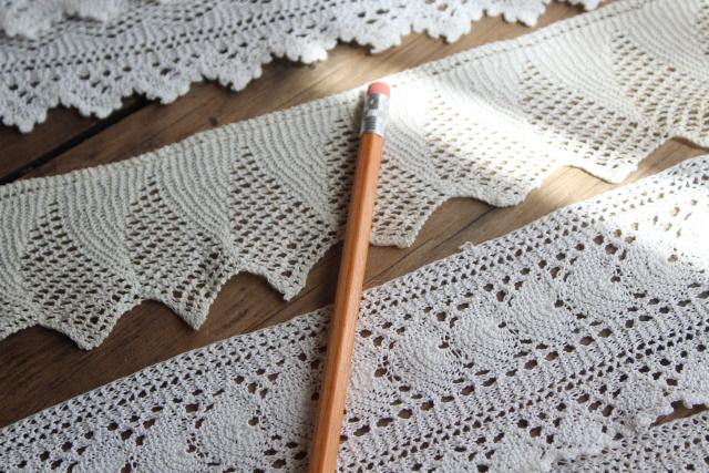 old handmade knit knitted lace edging, wide flounce sewing trim for linens or clothing