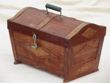 old handmade wood sewing box, small dome top trunk or chest, tramp art vintage