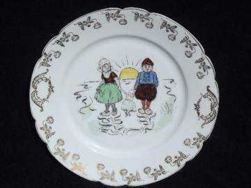 old hand-painted Delft china plate, Dutch boy and girl w/ a doll