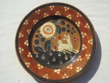 old hand-painted Mexican pottery plate w/ white deer, vintage Mexico
