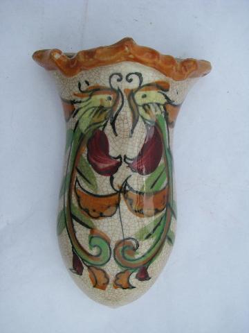 Old Hand Painted China Wall Pocket Vase Antique Crackle Glaze