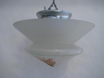 old hand-painted glass drop ceiling fixture light w/ fan collar lamp shade