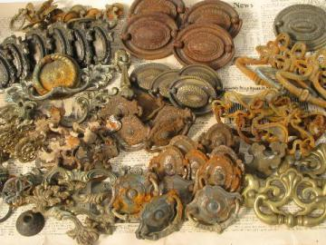 old hardware lot, 70 pcs vintage drawer pulls & handles
