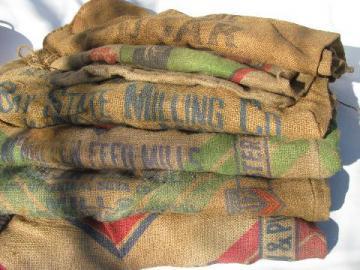 old hessian cloth gunny sacks, vintage burlap feed grain bags lot