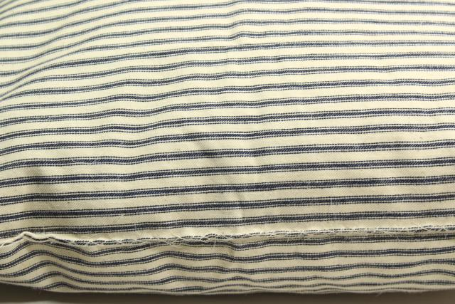 old indigo blue striped cotton ticking, primitive country farmhouse vintage feather pillow