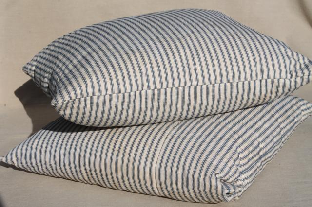 old indigo blue striped ticking pillows square feather pillow vintage seat cushions or toss pillows