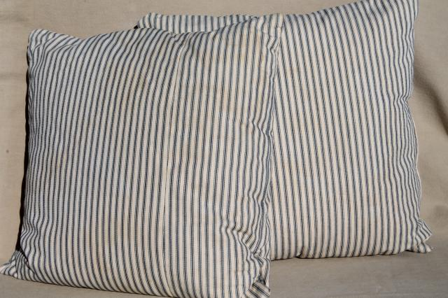 Old Indigo Blue Striped Ticking Pillows Square Feather