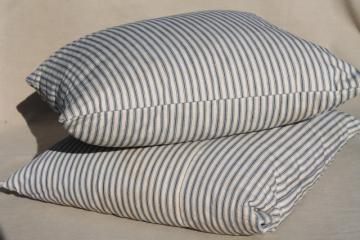 old indigo blue striped ticking pillows, square feather pillow vintage seat cushions or toss pillows