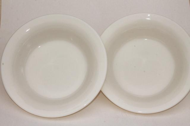 old ivory Corning glass restaurant ware, deep dish pie plates or serving bowls