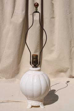 old ivory colored milk glass table lamp, vintage alacite Aladdin lamp w/ ruby red marble finial
