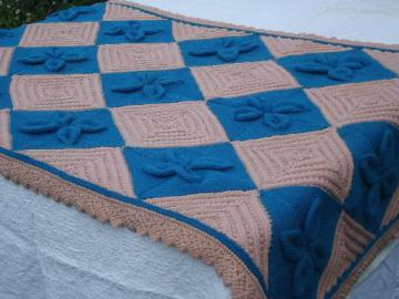 old knitted wool counterpane blanket, southwest desert peach & turquoise