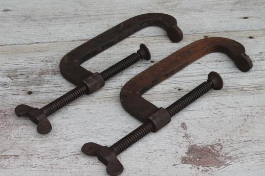 old large  C clamps, lot of Hargrave Superclamp No. 44 Cincinnati clamp