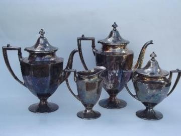 old letter R monogram silver plate tea and coffee pot set, Sheffield design