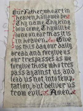 old linen embroidery, the Lord's Prayer motto sampler