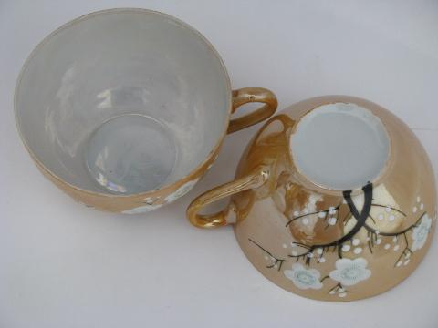 old luster china cups and saucers w/ handpainted plum blossom, made in Japan