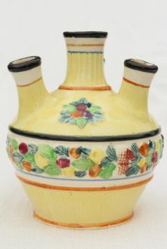 old majolica style tulip vase, vintage hand painted ceramic Maruhon ware Japan
