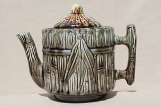 old majolica type pottery teapot w/ bamboo pattern, 1800s vintage Taft potteries New Hampshire