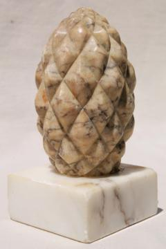 old marble finial, carved stone pinecone or pineapple door stop, vintage architectural ornament