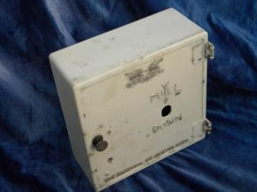old metal industrial vintage Gamewell fire alarm wall box