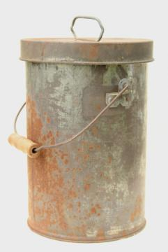 old metal milk pail cream can w/ handle & lid, shiny tinned steel interior
