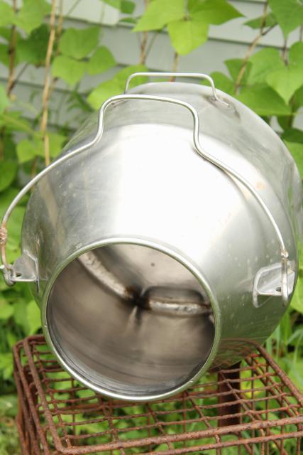 Old Metal Milk Pail Vintage Delaval Stainless Steel