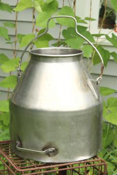 old metal milk pail, vintage DeLaval stainless steel milker milking machine bucket