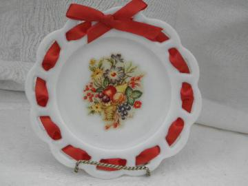 old milk glass candy plate, ribbon edge border, 40s vintage flower decal