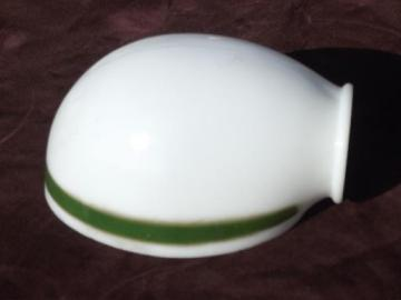 Vintage replacement glass lamp shades old milk glass lamp shade for antique desk light bankers green stripe aloadofball Image collections