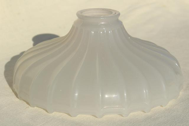 old milk glass shade for exposed bulb pendant light, vintage industrial hanging lamp