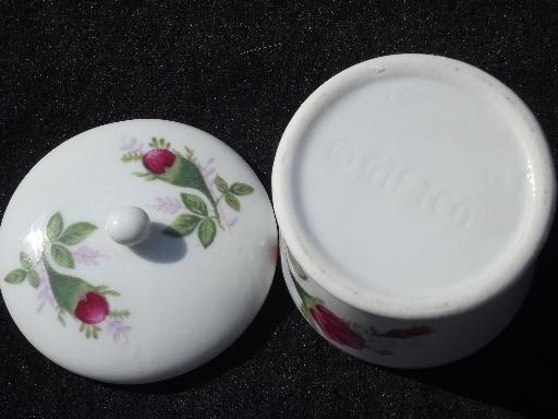 old moss rose china desk box for roll of stamps, postage stamp holder