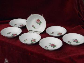 old moss rose pattern china fruit bowls, vintage USA - Paden City pottery