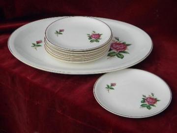 old moss rose pattern china fruit platter & plates, vintage USA - Paden City pottery
